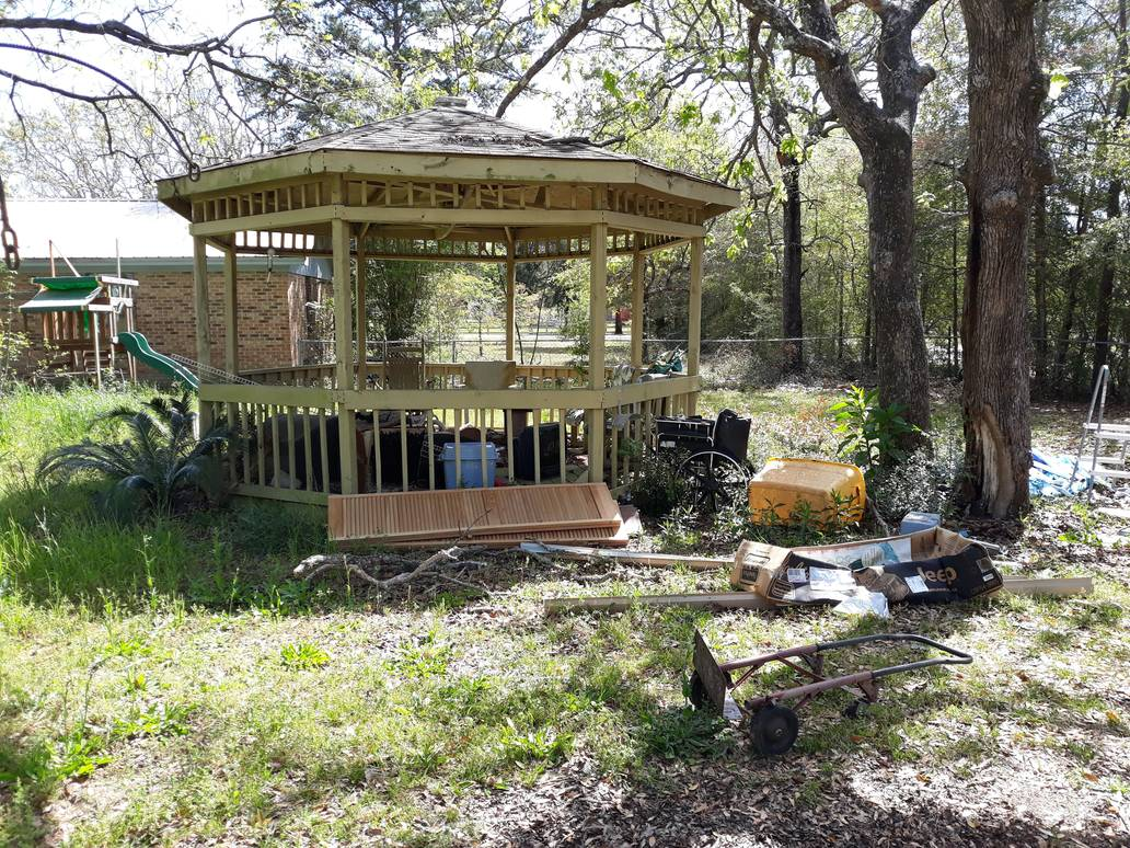 Junk Around A Gazebo Junk Removal Service Something Old Salvage 6505 North W Street Pensacola FL 32505 850 758 9900 www.somethingoldsalvage.com